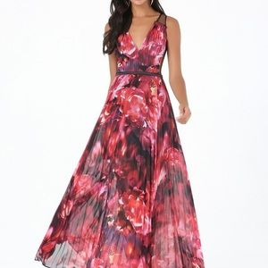 Bebe Pleated Red Floral Chiffon Maxi Dress, Size 0
